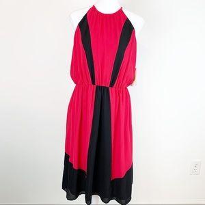 Gibson Latimer halter neck color block dress